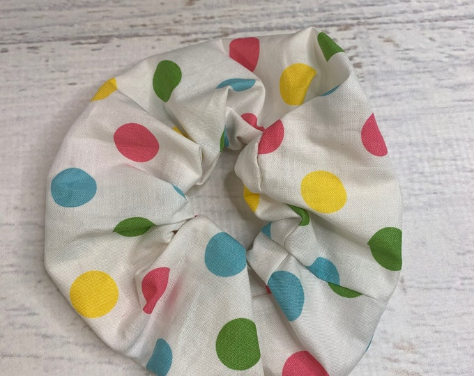 Rock The Dots - Pastel Polka Dots - Elastic Hair Tie - Fabric - Wide Width - Oversize - Scrunchie style - Mod - MCM