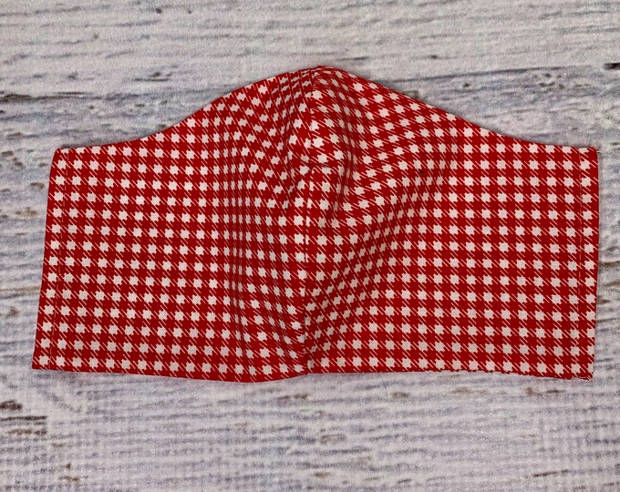Red Gingham - Cowboy Style - Face Masks - 100% Cotton - Washable With Filter Pockets - Nose Wire