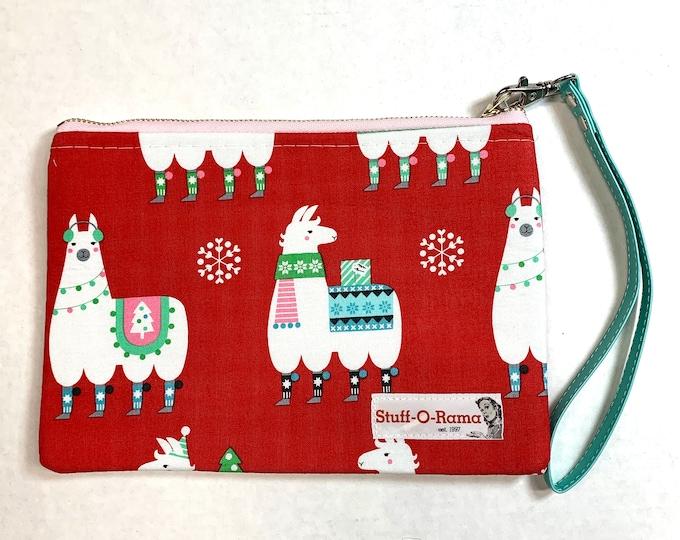 Christmas Holiday Llamas - Clutch Wallet Wristlet