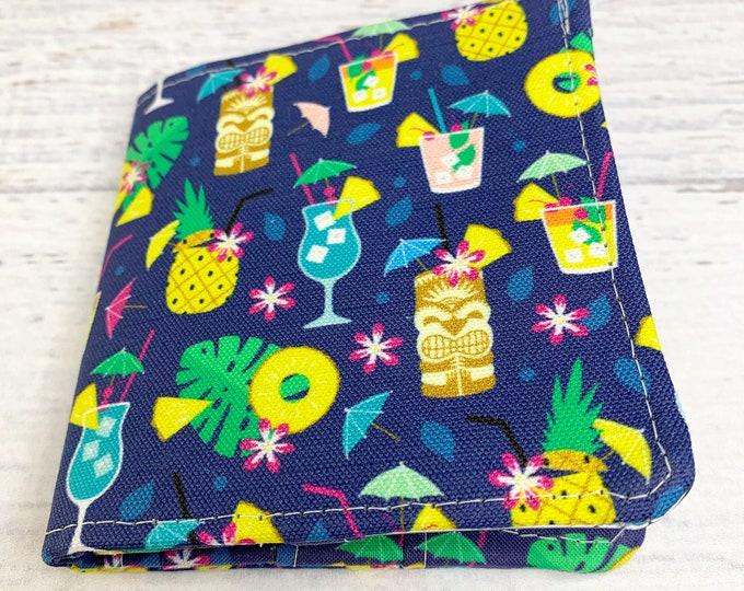 Hawaiian Summer Cocktails - Cotton Canvas Bi-Fold Wallet - Billfold - Tiki - Disneybound - Enchanted Tiki Room