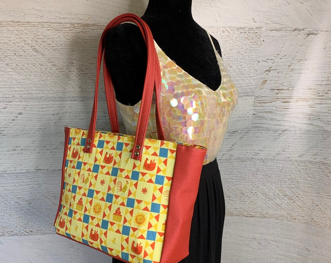 Country Farm - Shoulder Bag - Purse - Handbag - Crossbody - Canvas - Vegan Leather- MCM - MidCentury - Mod - Rockabilly