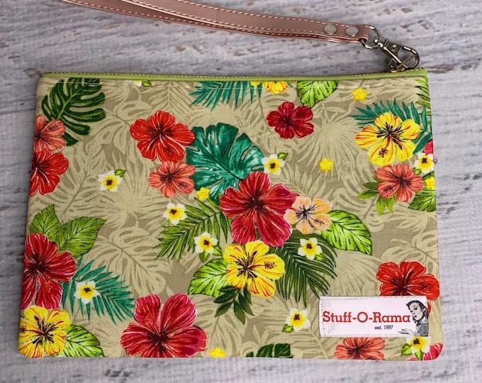 Tropical Hibiscus Flowers - Hawaiian Aloha Print - Clutch Wallet Wristlet