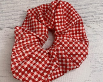 Red Gingham - Elastic Hair Tie - Fabric - Wide Width - Country - Cottage Core - Oversize - Scrunchie style