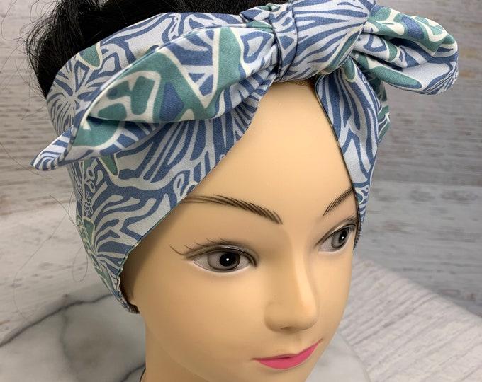 Batik Style - Honu Sea Turtle - Pin Up Style Wide Head Scarf - Hair Wrap - Cotton - Aloha Print - Hawaiian Print - Tropical