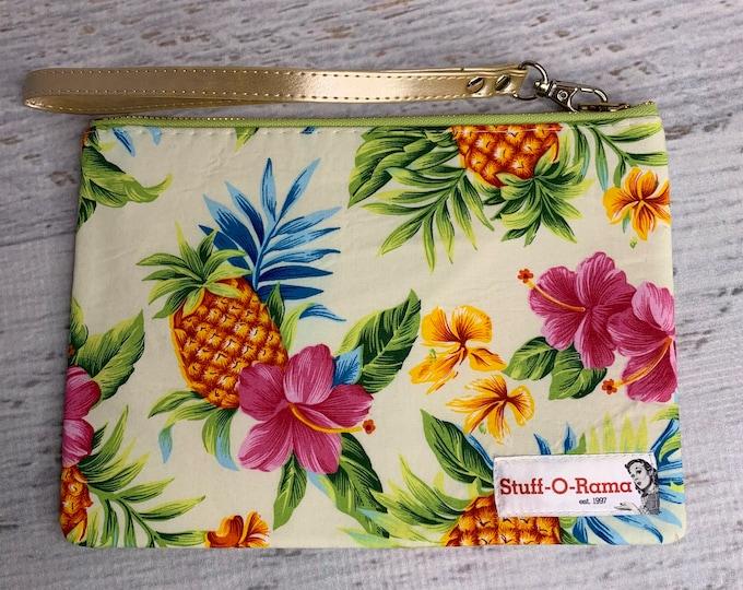 Pink Hibiscus & Pineapple - Hawaiian Aloha Print - Clutch Wallet Wristlet