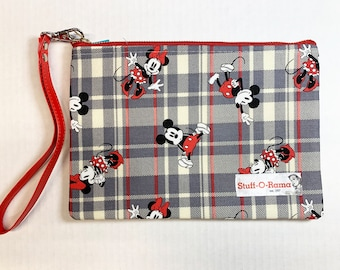 Wristlet Zipper Pouch Clutch Purse - Mickey Mouse and Minnie Mouse