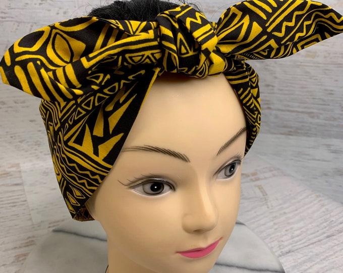 Tapa Cloth - Black Yellow - Pin Up Style Wide Head Scarf - Hair Wrap - Cotton - Aloha Print - Hawaiian Print - Tropical Print - Floral Print