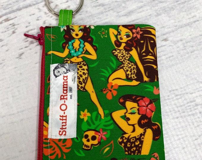 Miss Fluff - Tiki Temptress - Cotton Canvas - Coin Purse - Keychain - Wallet - Key Fob - Key Ring - Aloha Print - Hawaiian Print