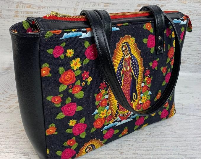Our Lady Of Muertos - Cotton Canvas - Vegan Leather Bag - Purse - Shoulder Bag - Handbag - Halloween - Day of the Dead - Dias de los Muertos