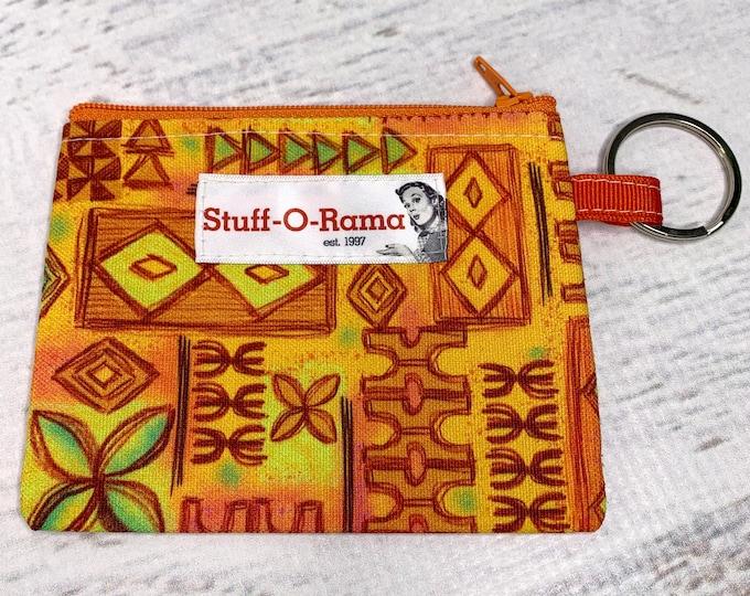 Tiki Tapa - Cotton Canvas - Coin Purse - Keychain - Wallet - Key Fob - Key Ring - Aloha Print - Hawaiian Print