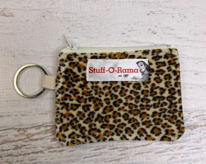Leopard Cheetah Print - Faux Fur - Coin Purse - Keychain - Wallet - Key Fob - Key Ring