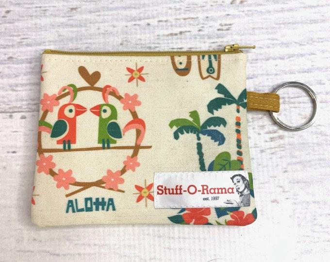 Mid Century Tiki Resort - Cotton Canvas - Coin Purse - Keychain - Wallet - Key Fob - Key Ring - Aloha Print - Hawaiian Print