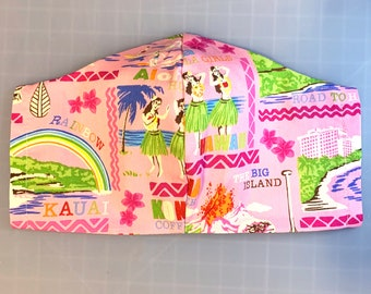 Pink Hawaiian Islands Tropical Print - Face Mask Coverings - 100% Cotton - Washable With Filter Pockets - Nose Wire