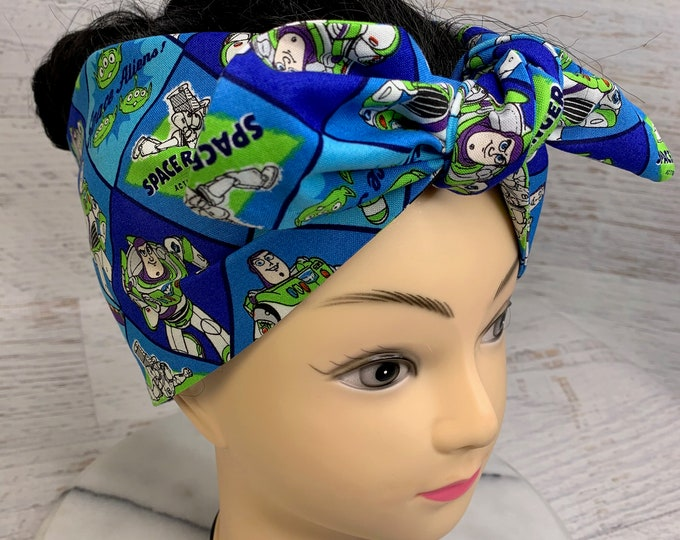 Space Ranger - Buzz Lightyear - Toy Story - Pin Up Style Wide Head Scarf - Hair Wrap - Cotton Headband