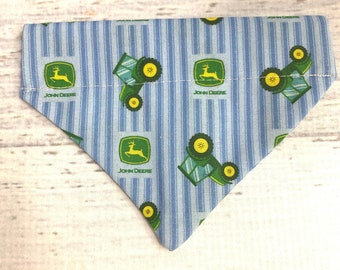 Little Green Farm Tractor - Dog or Cat Pet Bandanna - Over the Collar - Sizes XS through XL - Dog Accessories - Neckwear - Country - Farmer