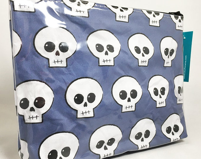 Make Up Bag - Blue Skully Zipper Pouch