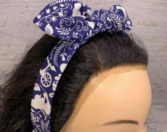 Sleeping Beauty - Aurora Toile - Pin Up Style Tie Knot Headband with Removable Bow - Hair Wrap - Cotton Headband - Retro Style