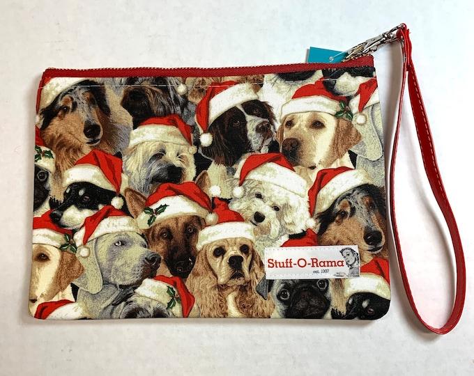 Christmas Dogs in Santa Hats - Clutch Wallet Wristlet