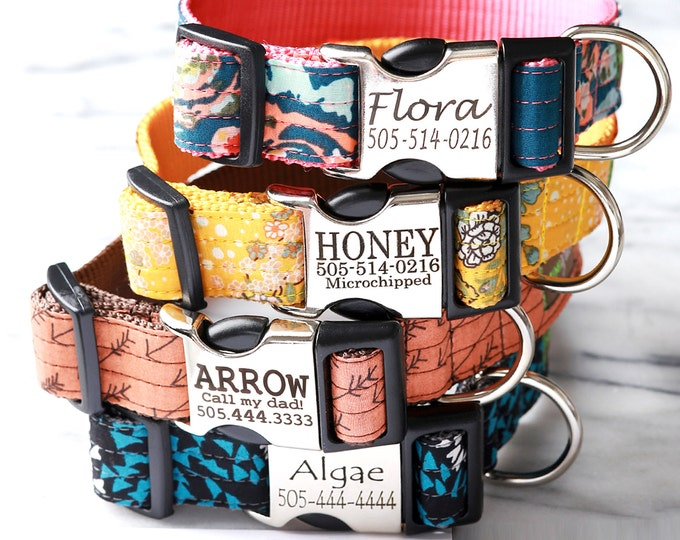 Personalized Laser Engraved Buckle Dog Collar - 10+  Boho Cotton Voile styles to choose from