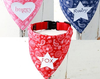 Dog Bandana with Nylon Dog Collar -- Personalized with your pup's name!