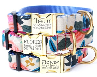 Engraved Buckle Dog Collar w Rifle Paper Co. Canvas Fabric 'FLEUR' NATURAL - Personalized with 3 Webbing Colors to Choose From