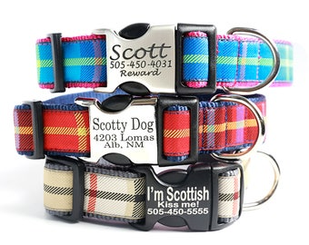 SCOTTY Plaid Dog Collar w Engraved Buckle - Personalized with 9 Colors to Choose From