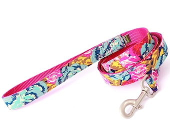 ELLA Floral Classic Cotton Dog Leash - 4', 5' or 6' --  Four Nylon Colors Available - Pink/Yellow/Teal/Blue Cute Dog Leash