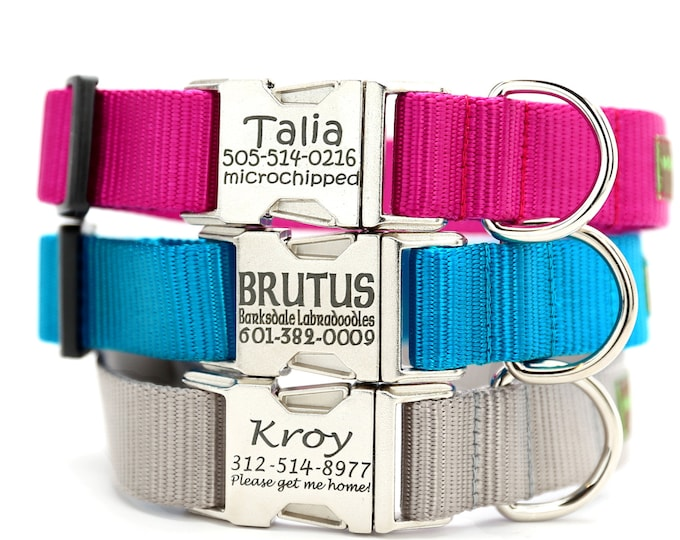 Personalized Dog Collar ALL METAL Engraved Silver Zinc Buckle | 27 Nylon Colors | Custom ID Monogram Collar w Name | Strong Sturdy Collar