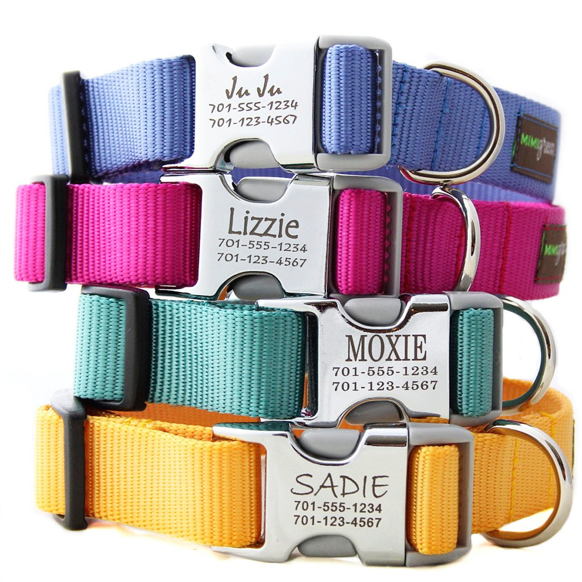 Metal Engraved Buckle Dog Collar - Personalized with 21 Nylon Colors to Choose From - Monogram Buckle Dog Collar - Custom Name Tag Collar