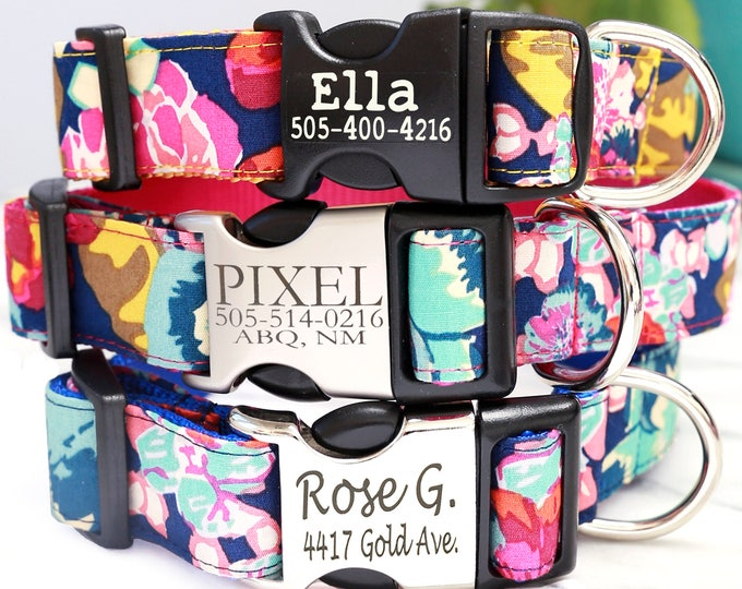 Floral Custom Dog Collar ELLA | Personalized Laser Engraved Buckle Dog Collar With Name 4 Colors | USA Handmade Flowers Girly Dog Collar