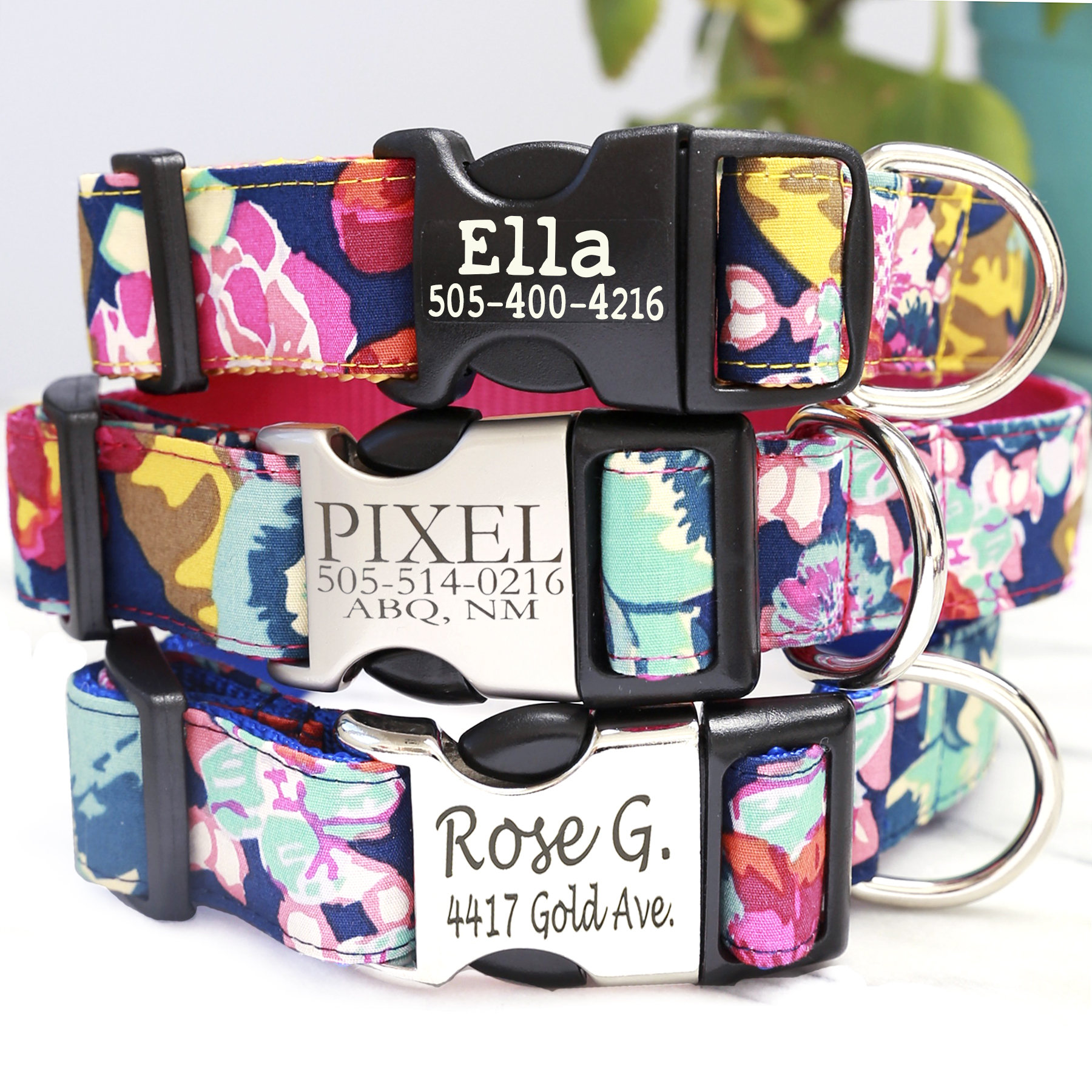 8bc0be41f5ce ELLA Floral Engraved Dog Collar Personalized Dog Collar with
