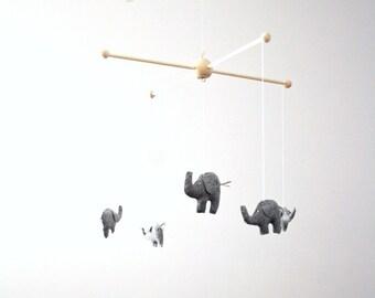 Dark Gray Elephant Safari Wildlife Animal Baby Nursery Mobile Deccor