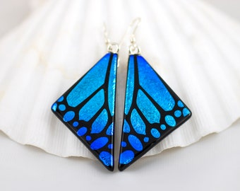 Blue Butterfly Wing Earrings - Etched Dichroic Glass, Dichroic Jewelry