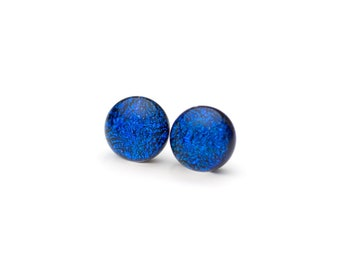 Dark Blue Fused Glass Post Earrings, Dichroic Jewelry,Stud Earrings, Hypoallergenic Surgical Steel Posts, Cabochons, Cabs