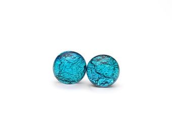 Blue Fused Glass Post Earrings, Dichroic Jewelry,Stud Earrings, Hypoallergenic Surgical Steel Posts, Cabochons, Cabs