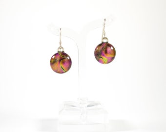 Pink Green Dichroic Glass Earrings - Dichroic Glass Jewelry - Fused Glass Jewelry - Gifts for Her - Graduation Gifts - Mother's Day Gifts