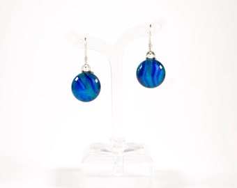 Blue Dichroic Glass Earrings - Dichroic Glass Jewelry - Fused Glass Jewelry - Gifts for Her - Graduation Gifts - Mother's Day Gifts
