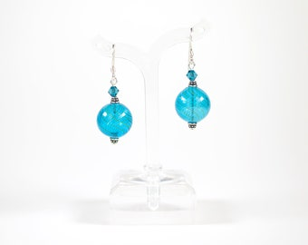Blue Blown Glass Earrings, Dangle Earrings, Gifts for Her, Drop Earrings, Birthday/Holiday/Teacher's/Anniversary/Christmas Gifts