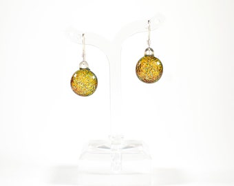 Orange Dichroic Glass Earrings - Dichroic Glass Jewelry - Fused Glass Jewelry - Gifts for Her - Graduation Gifts - Mother's Day Gifts