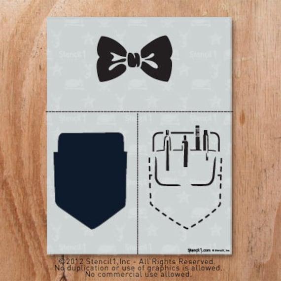 Bow Tie And Pocket Protector Stencil Reusable Craft DIY