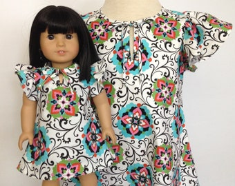 0f63231dea83 Girl Doll Matching Clothes - 18 in Dollie and Me - A-Line Dress/ Headband  4pc Outfit - Flutter Slv - Medallion Scroll