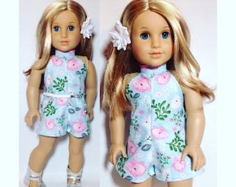 "18"" in Girl Doll Clothes - Halter Short Romper/ Jumper - Spring Flower"