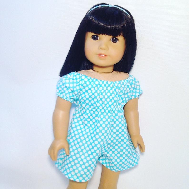 Aqua n White Polk-Dots Girl Doll 18 in Doll Clothes Peasant Short Romper Jumper