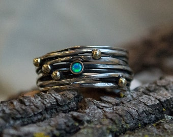 Under a Bridge R2322 Silver copper ring bohemian ring wide band two tones ring Opals ring silver wire ring oxidised silver ring