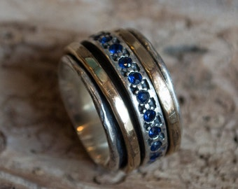 Sapphire ring, Mens wedding ring, Multistone ring, Meditation Ring, silver gold filled ring, wide silver spinner ring - Endlessly R1075L-5