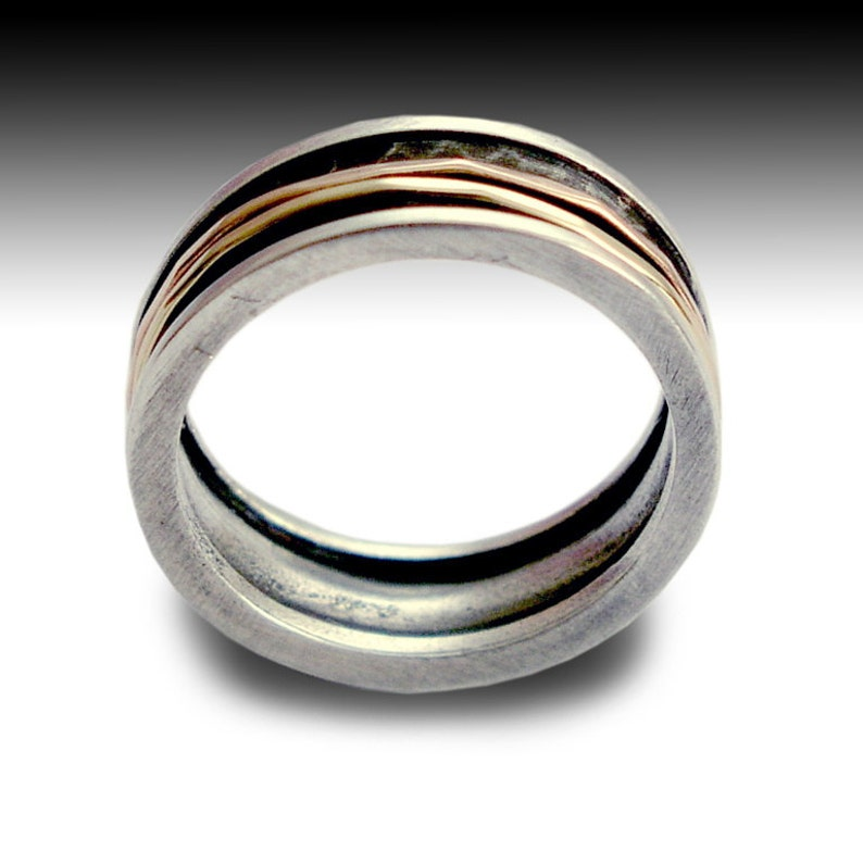 Gold Spinner Ring Men Silver Ring Walk with me R1079B Mens Wedding Band Unisex Ring Band Silver Gold Ring Meditation