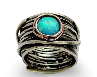 Opal ring, Silver wedding ring, silver engagement ring, gypsy ring, bohemian ring, hippie ring, boho ring - Imagine life in peace 2 R1505G