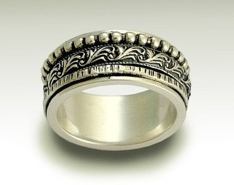 Spinner ring, Sterling Silver ring, Meditation Ring, Mens Band, Stacking Bands, Unisex Band, Filigree Ring - Wait for the sound. R1149A