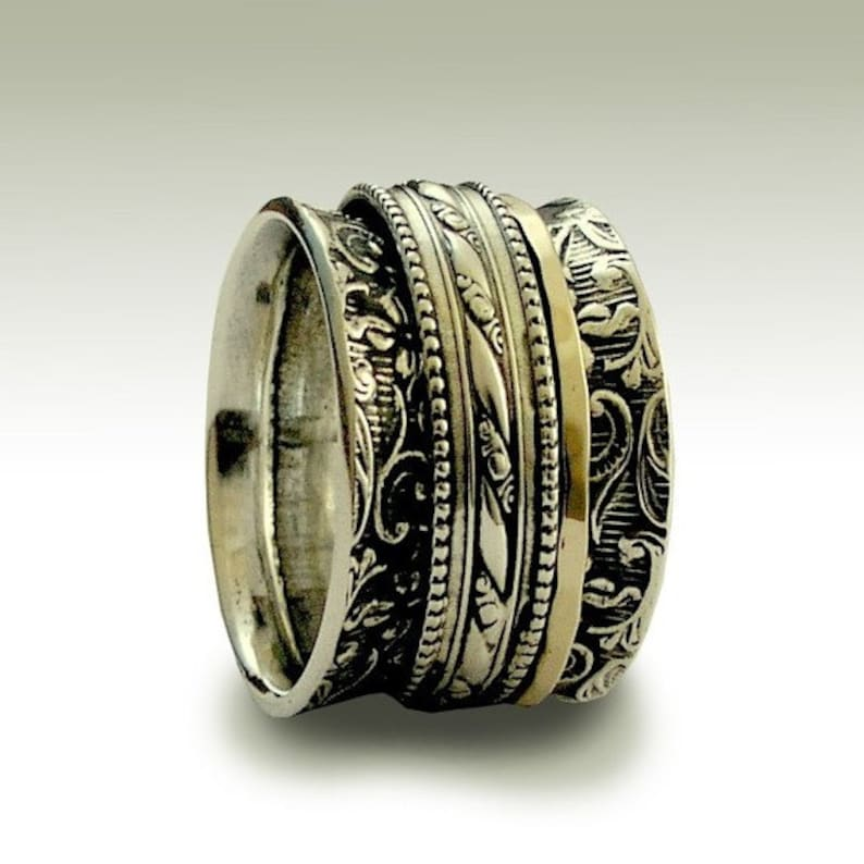 fc4e60c9b6cd Sterling silver wedding band wide silver ring gold silver