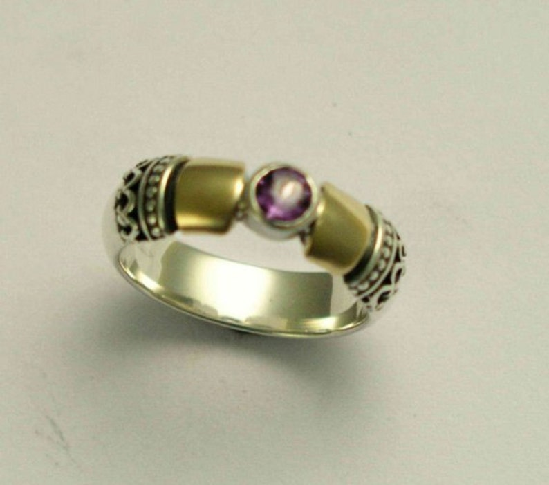 Hopeless romantic R0151 two tones ring Sterling gold engagement ring filigree ring Citrine ring birthstone ring alternative ring